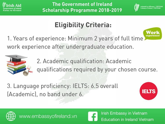 Các yêu cầu ứng tuyển học bổng.