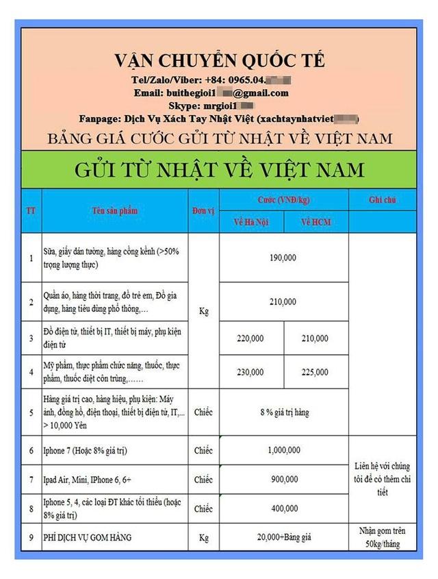 Giá niêm yết dịch vụ chuyển hàng trọn gói từ Nhật Bản về Việt Nam được công khai trên internet.