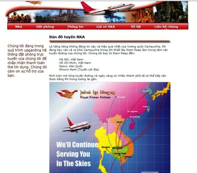 Ảnh chụp lại trang web của Royal Khmer Airlines ngày 4/11/2017