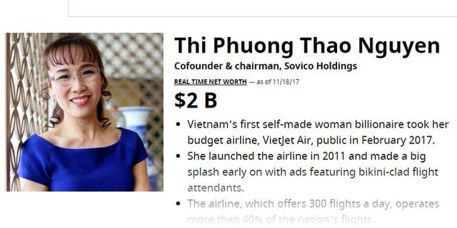Tài sản của bà Thảo theo tính toán của Forbes