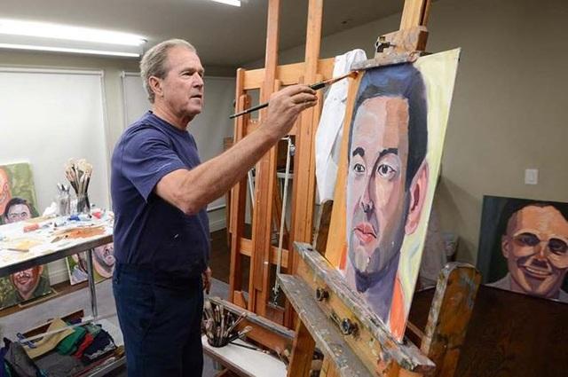 Cựu tổng thống George Bush trổ tài vẽ tranh