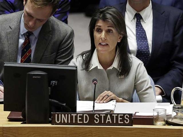 Đại sứ Mỹ tại Liên Hiệp Quốc Nikki Haley. Ảnh: APP