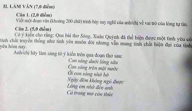 Nhiều học sinh trường H.T.K đề nghị bạn mình học thuộc đề thi bài thơ Sóng của Xuân Quỳnh.
