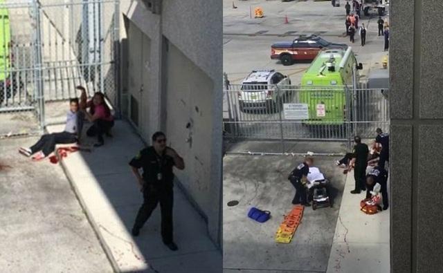 Các nạn nhân bị thương ngồi la liệt bên ngoài cảng quốc tế Fort Lauderdale. Ảnh: Instagram