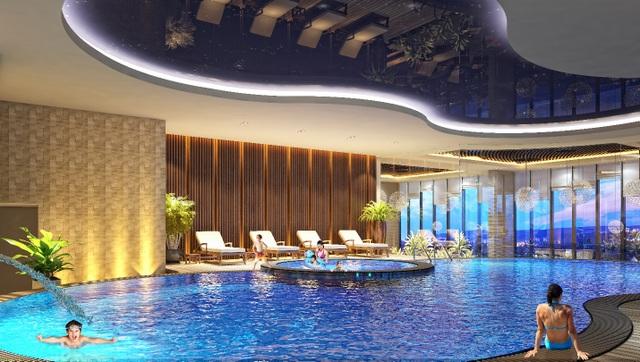 Bể bơi trong khuôn viên tòa Spring, dự án GoldSeason (47 Nguyễn Tuân, Thanh Xuân, Hà Nội).