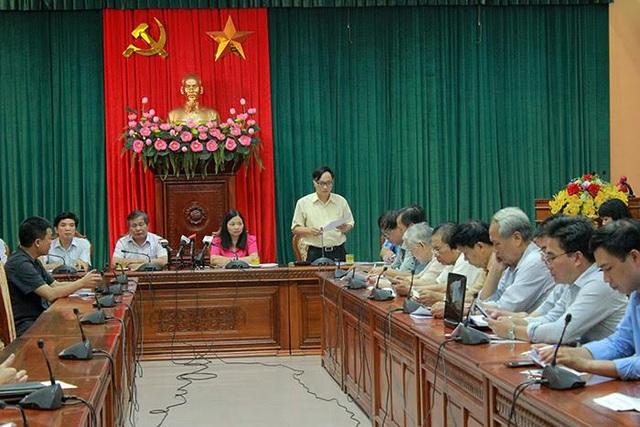 Quang cảnh tại buổi họp báo Thành ủy Hà Nội.