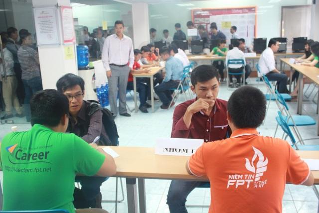 Các sinh viên FPT Jetking được FPT Telecom phỏng vấn tuyển dụng ngay tại trường.