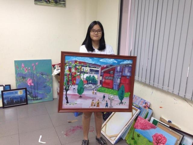 """Hà Thanh & bức tranh đạt giải nhất trong Hội chợ Spring Fair 2017 của trường Hanoi Academy - Môi trường học lý tưởng đào tạo """"công dân toàn cầu""""."""