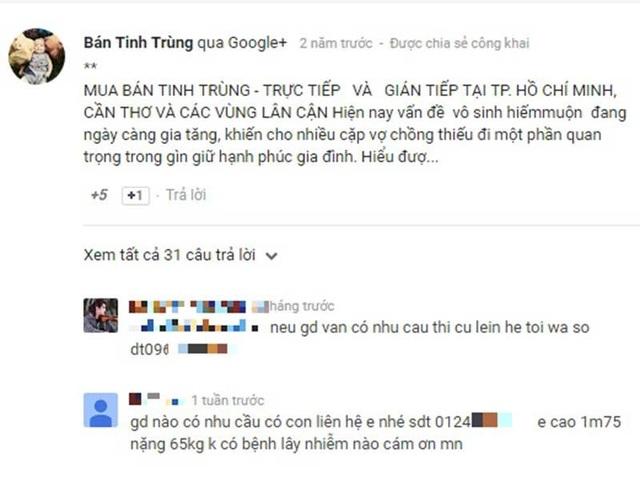 Những lời comment rao bán tinh trùng trên một trang mạng.  Ảnh: TH