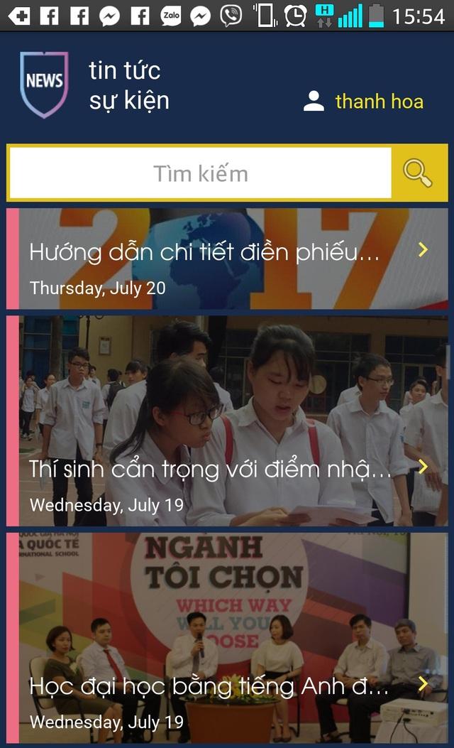 Giao diện ứng dụng Tuyển sinh VNU trên màn hình điện thoại thông minh.
