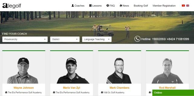 Website đặt khóa học golf www.alegolf.com/academy