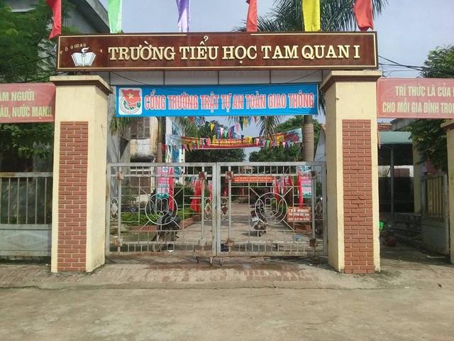 Cổng trường Tiểu học Tam Quan 1 - nơi xảy ra sự việc.