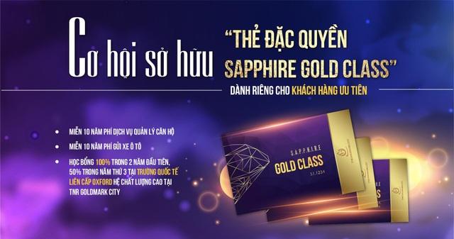 Thẻ đặc quyền Sapphire Gold Class dành riêng cho các khách hàng đặt cọc sớm nhất trong tháng 11.