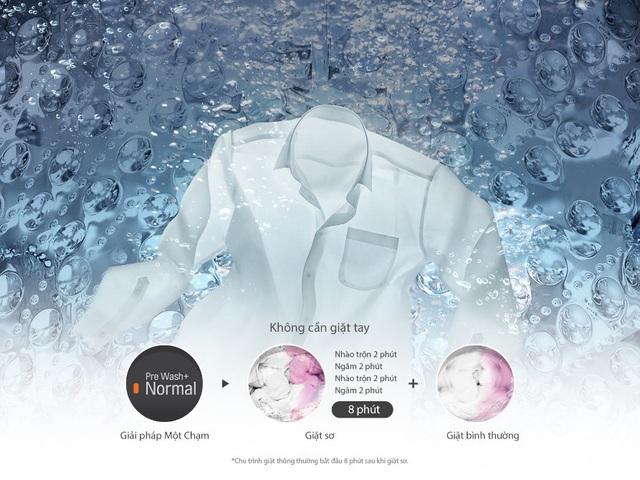 Giải pháp giặt sơ 8 phút của máy giặt LG Smart Inverter biến việc giặt giũ trở thành chuyện nhỏ.