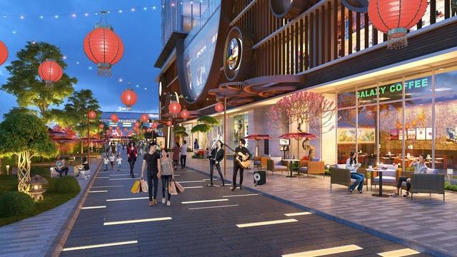 Khu phố đèn lồng - tượng trưng cho hành hỏa - một góc tiện ích mang phong cách Nhật Bản tại Hinode City