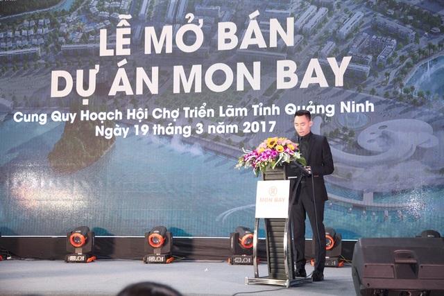 Ông Nguyễn Hải Đăng – Tổng giám đốc công ty TNHH HD Mon Hạ Long chia sẻ về tầm nhìn và định hướng của CĐT tại buổi lễ mở bán ngày 19/3