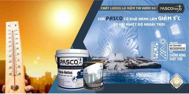 Sơn Pasco sơn chắc, màu bền, sơn lên nhà mát. Sơn PASCO có khả năng làm giảm 5 độ so với nhiệt độ ngoài trời
