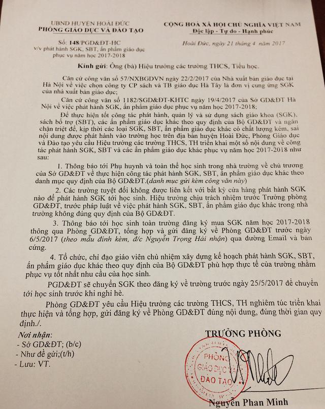 Văn bản của Phòng GD&ĐT huyện Hoài Đức gửi các trường.