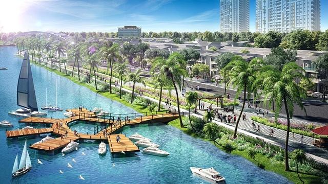 Phối cảnh bến du thuyền hiện đại tại Ngọc Dương Riverside.