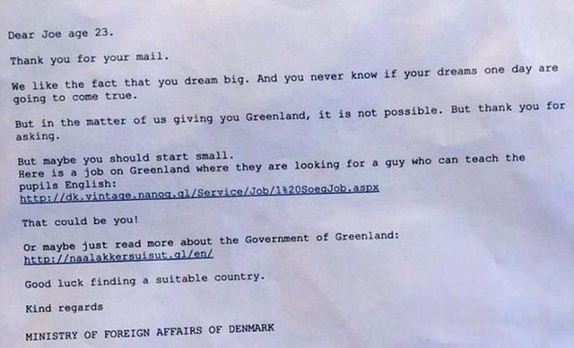 Bức thư trả lời thú vị của Bộ Ngoại giao Đan Mạch