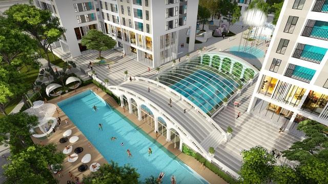 Bể bơi liên thông trong nhà & ngoài trời với tổng diện tích tới 1.470m2