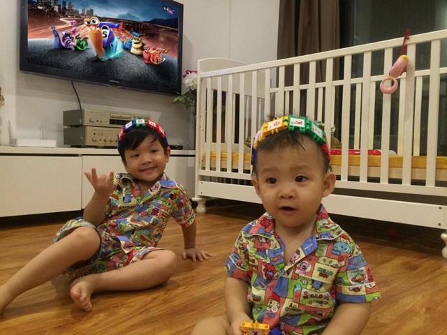 Vợ chồng Đan Lê dành nhiều thời gian cho hai nhóc kháu khỉnh