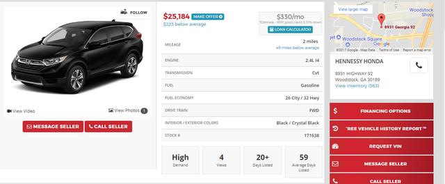 Giá xe Honda CR-V bản 5 chỗ, đời 2017 tại Mỹ