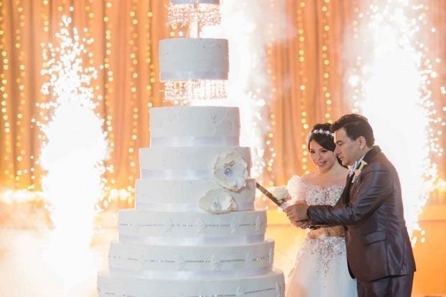 Cặp đôi cùng cắt bánh cưới 9 tầng