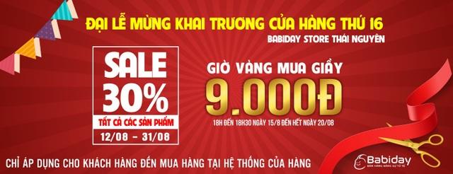 Áp dụng tại hệ thống 16 cửa hàng Babiday trên Toàn Quốc (không áp dụng khi mua online)
