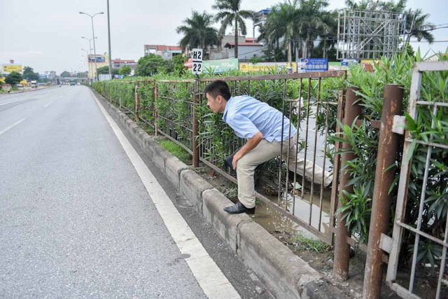 Hàng rào trên dải phân cách bị cắt bẻ nhiều chỗ để tạo lối đi tắt. Với mật độ phương tiện đông, di chuyển với tốc độ cao, việc sang đường chui như thế này rất nguy hiểm.