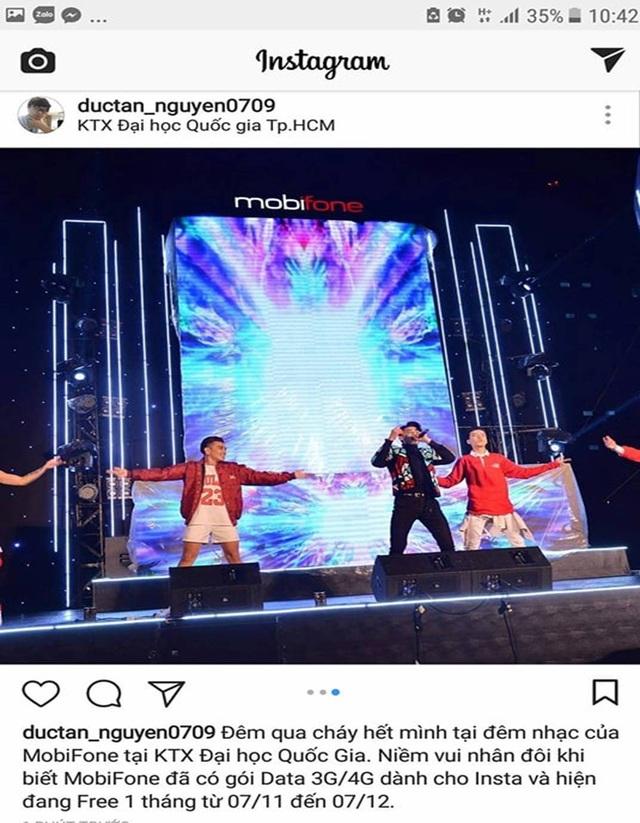 Một bạn sinh viên hào hứng chia sẻ luôn hình ảnh đêm diễn kèm chú thích về gói cước Instagram đang khuyến mãi của MobiFone cho bạn bè