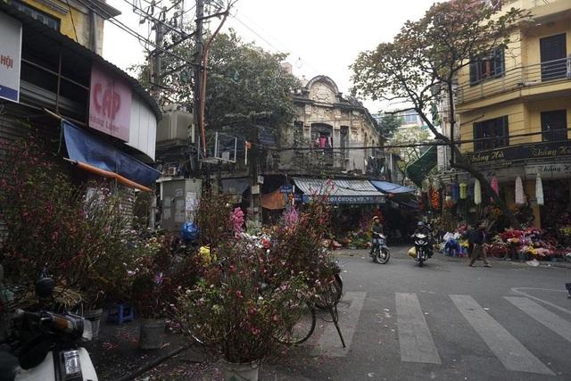 Chợ hoa Hàng Lược đã có nhiều người mang đào về bán dù chu chính thức khai mạc.