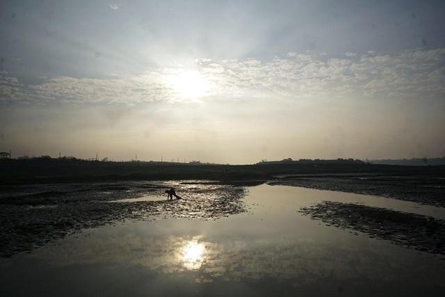 Một người đi bắt cá ven sông Hồng trong buổi bình minh.