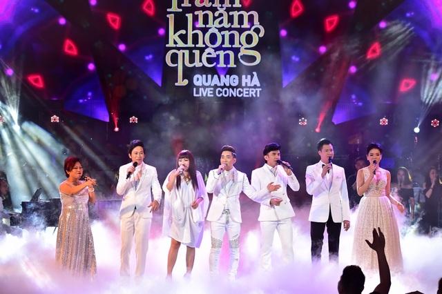 Các ca sỹ mở màn đêm Live Concert Quang Hà.