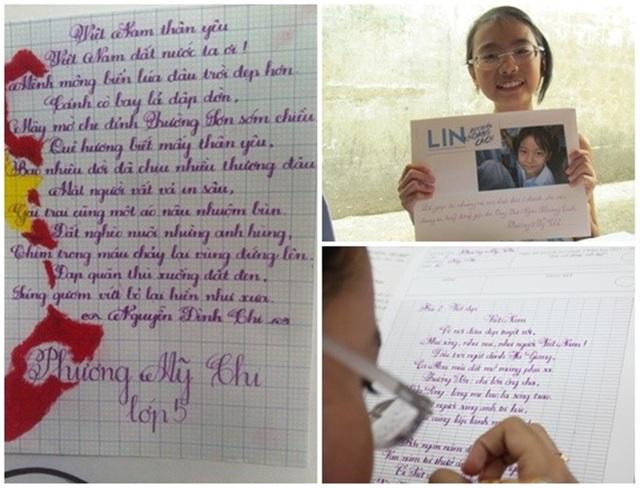 Cô bé dân ca Phương Mỹ Chi bé từng đoạt giải khuyến khích trong cuộc thi Viết đúng, viết đẹp cấp quận và thường xuyên tự tay viết thông điệp kêu gọi mọi người tham gia làm từ thiện nên không có gì lạ khi chữ viết tay của em khiến người xem xao xuyến.