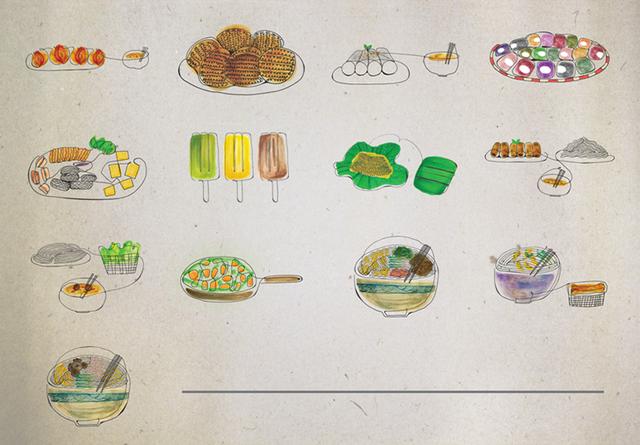 Tất cả những món ngon này đều được vẽ bằng một đường nét duy nhất.