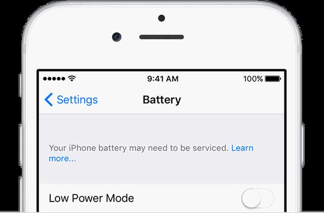 Thông báo nhỏ xuất hiện cho biết pin trên iPhone có vấn đề và cần phải thay thế