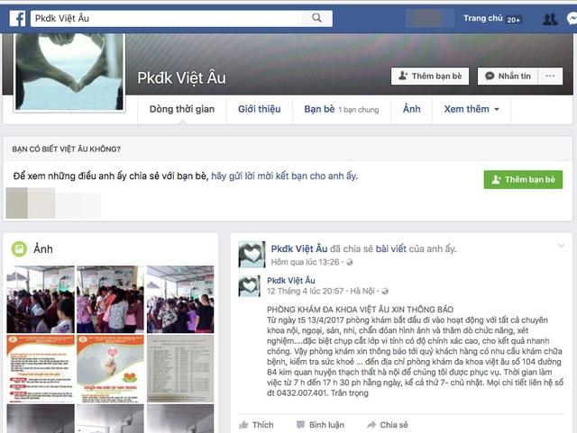 Website có tên PKĐK Việt Âu quảng cáo phòng hám hoạt động từ ngày 13/4 (ảnh chụp màn hình trưa ngày 20/4)
