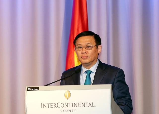 Phó Thủ tướng Vương Đình Huệ khuyến khích sự đầu tư của doanh nghiệp Australia vào nhiều lĩnh vực kinh tế tại Việt Nam (ảnh: VGP).
