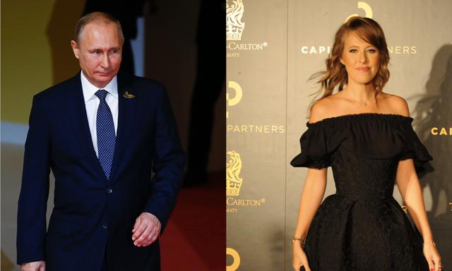 Tổng thống Nga Vladimir Putin (trái) và cô Ksenia Sobchak (Ảnh: Getty)
