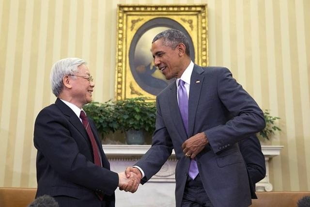 Ngày 7/7/2015, theo lời mời của chính quyền Tổng thống Barack Obama, Tổng Bí thư Nguyễn Phú Trọng đã có chuyến thăm chính thức Hoa Kỳ, đúng dịp hai nước kỷ niệm 20 năm bình thường hóa quan hệ và 2 năm thiết lập quan hệ Đối tác toàn diện Việt Nam - Hoa Kỳ. Trong chuyến thăm này, Tổng Bí thư Nguyễn Phú Trọng có cuộc hội đàm với Tổng thống Hoa Kỳ Barack Obama tại phòng Bầu dục của Nhà Trắng (ảnh: AFP).