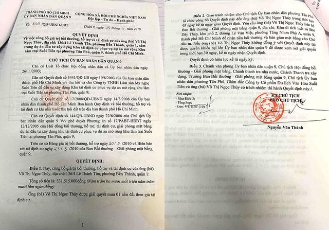 Báo cáo số 642/BBT ngày 31/8/2015 của Ban Bồi thường đề xuất cho hộ dân trả lại tiền bồi thường vì dự án hiện nay Quyết định thu hồi đất đã bị thu hồi không có cơ sở tiếp tục thực hiện.
