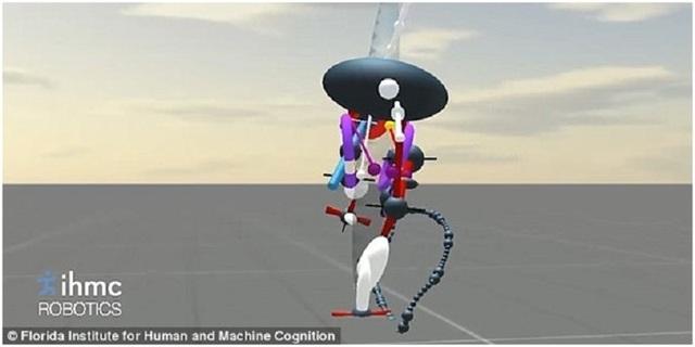 Mô hình 3D của rô-bốt Planner Elliptical Runner, chúng sử dụng sự chuyển động theo hình elip của đôi chân để giữ thăng bằng.