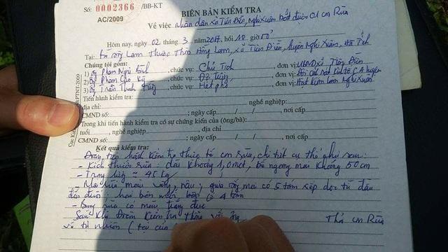 Biên bản bàn giao rùa biển 1 tạ mà ngư dân bắt được để cơ quan chức năng thả rùa về môi trường thiên nhiên