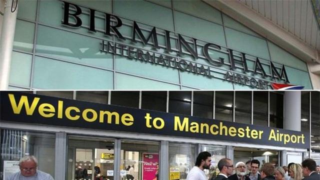 Các sân bay Birmingham và Manchester của Anh (Ảnh: BBC)