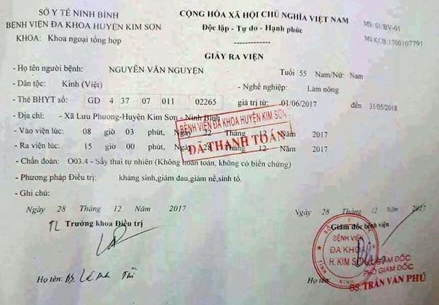 Giấy ra viện BVĐK huyện Kim Sơn xuất cho bệnh nhân nam, chuẩn đoán bị sẩy thai tự nhiên gây xôn xao dư luận.