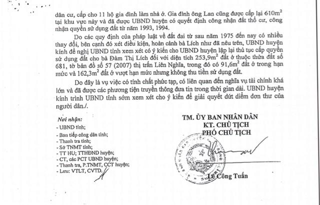 Báo cáo số 387/BC-UBND do ông Lê Công Tuấn ký ngày 12/11/2015 về việc xin ý kiến của UBND tỉnh về giải quyết đơn của bà Đàm Thị Lích, trong đó UBND huyện đề nghị UBND tỉnh xem xét cho UBND huyện lập lại thủ tục cấp quyền sử dụng đất cho bà Đàm Thị Lích đối với diện tích 253,9m2 đất ở không thu tiền sử dụng đất.