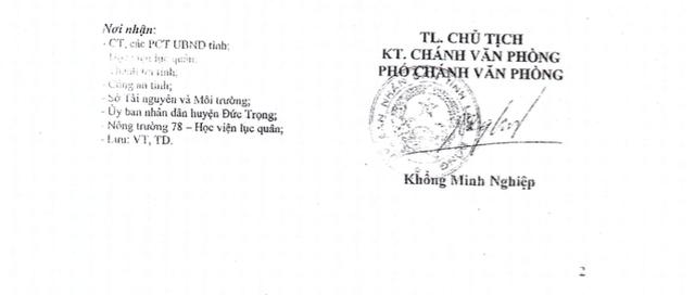 Văn bản chỉ đạo và giao UBND huyện Đức Trọng giải quyết khiếu nại của bà Đàm Thị Lích theo hướng dẫn nghiệp vụ của Sở TN&MT của UBND tỉnh Lâm Đồng.
