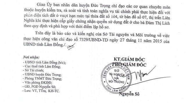 Báo cáo do ông Nguyễn Sô, Phó Giám Đốc Sở TN&MT ký khẳng định bà Đàm Thị Lích phải thực hiện nghĩa vụ tài chính và bác kiến nghị của UBND huyện Đức Trọng về việc đề nghị không thu tiền sử dụng đất của bà Lích.