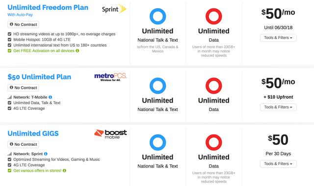 Giá cước một số gói cước 4G không giới hạn tại Mỹ.